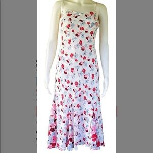 Ann Taylor white w/pink, red, & gray flowers dress